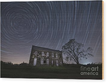 Abandoned History Star Trails Wood Print by Michael Ver Sprill