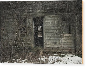 Abandoned House - Enter House On The Hill Wood Print by Gary Heller