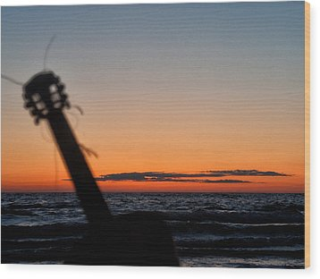 Acoustic Guitar On The Beach Wood Print