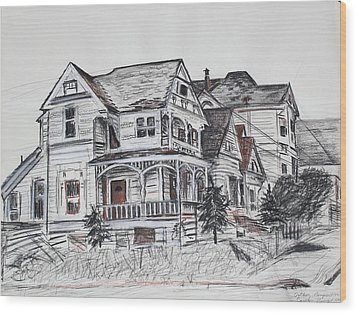 Abandoned Victorian And Neighbors In Oakland California Wood Print by Asha Carolyn Young