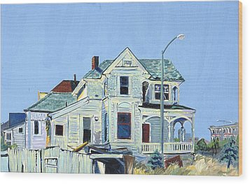 Wood Print featuring the painting Abandoned Victorian In Oakland  by Asha Carolyn Young