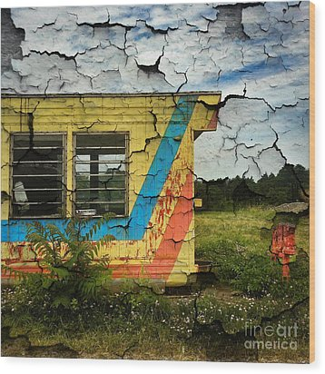 Abandoned Yellow Trailer Wood Print by Amy Cicconi