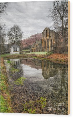 Abbey Reflection Wood Print by Adrian Evans