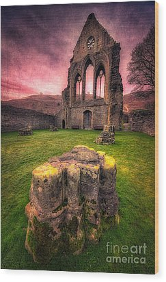 Abbey Ruin Wood Print by Adrian Evans