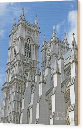 Wood Print featuring the photograph Abbey Towers by Ann Horn