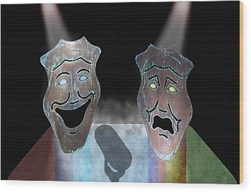 Abbott And Costello Wood Print by Steven  Michael
