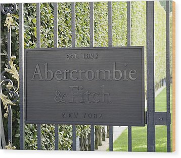 Abercrombie And Fitch Store In Paris France Wood Print by Richard Rosenshein