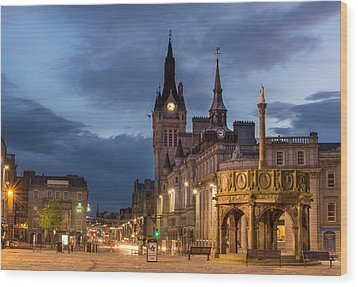 Aberdeen At Night Wood Print