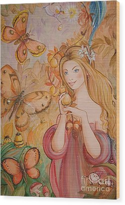 Abigail In The Golden Forest Wood Print by Ottilia Zakany