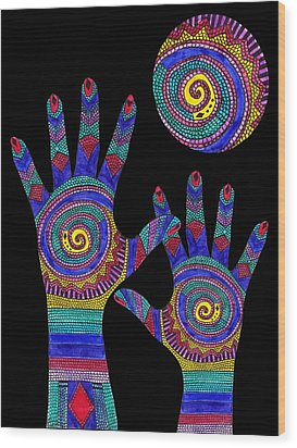 Aboriginal Hands To The Sun Wood Print