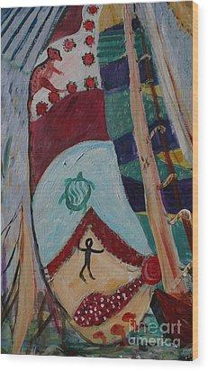 Aborigines Sail Wood Print by Avonelle Kelsey