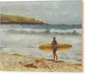About To Surf Wood Print by Pixel Chimp