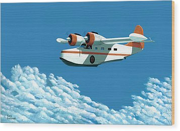 Wood Print featuring the painting Above It All  The Grumman Goose by Gary Giacomelli