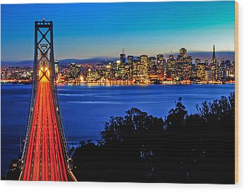 Above The Bay Bridge And San Francisco Skyline Wood Print