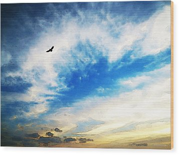 Above The Clouds - American Bald Eagle Art Painting Wood Print by Sharon Cummings