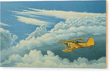 Above The Clouds-waco Biplane Wood Print by Paul Krapf