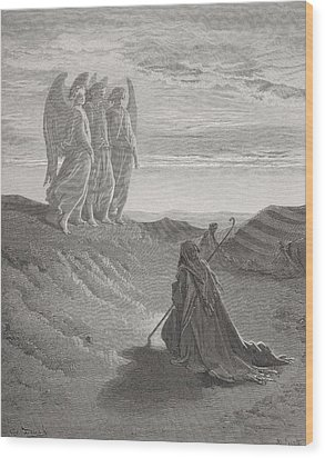 Abraham And The Three Angels Wood Print by Gustave Dore