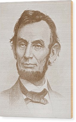 Abraham Lincoln Wood Print by American School