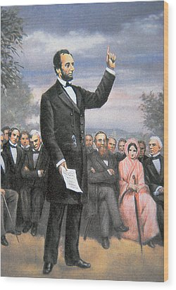 Abraham Lincoln Delivering The Gettysburg Address Wood Print by American School