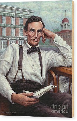 Abraham Lincoln Of Springfield Bicentennial Portrait Wood Print by Jane Bucci