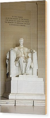Abraham Lincolns Statue In A Memorial Wood Print by Panoramic Images