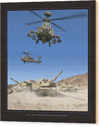 Abrams Battle Tank And Apache Longbow Wood Print by Larry McManus
