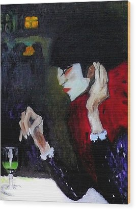 Absinthe Drinker After Picasso Wood Print