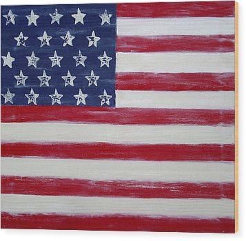 Abstract American Flag Painting Wood Print by Holly Anderson