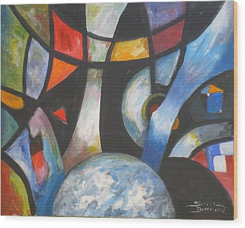 Abstract And The World Wood Print
