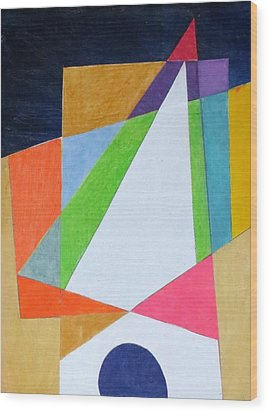 Abstract Angles Xi Wood Print by Diane Fine