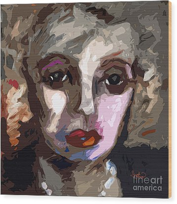 Abstract Art Bette Davis Eyes  Wood Print by Ginette Callaway