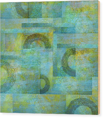 Abstract Art Blue Collage Wood Print by Ann Powell