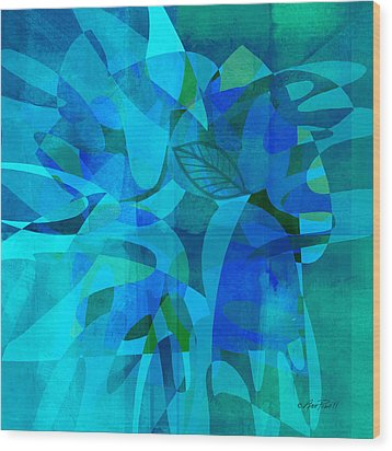 abstract - art- Blue for You Wood Print by Ann Powell