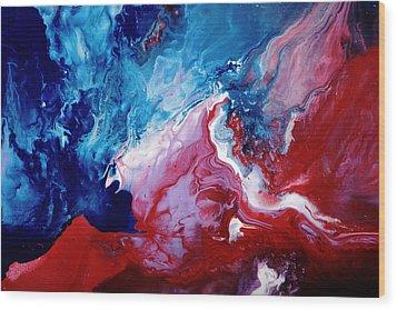Abstract Art Blue Red White By Kredart Wood Print by Serg Wiaderny