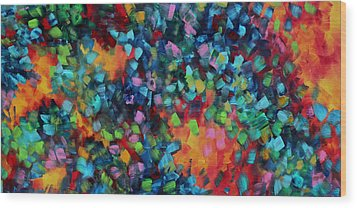 Abstract Art Bold Colorful Modern Art Original Painting Color Blast By Madart Wood Print by Megan Duncanson
