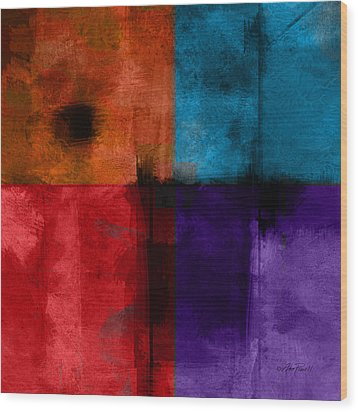 abstract - art- Color Block Square Wood Print by Ann Powell