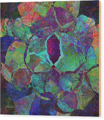 Abstract Art Colorful Collage Wood Print by Ann Powell
