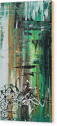 Abstract Art Colorful Original Painting Green Valley By Madart Wood Print by Megan Duncanson