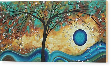 Abstract Art Contemporary Painting Summer Blooms By Madart Wood Print by Megan Duncanson