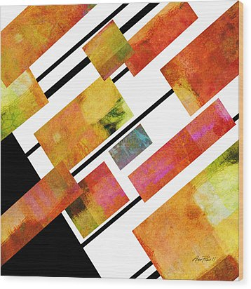abstract art Homage to Mondrian Square Wood Print by Ann Powell