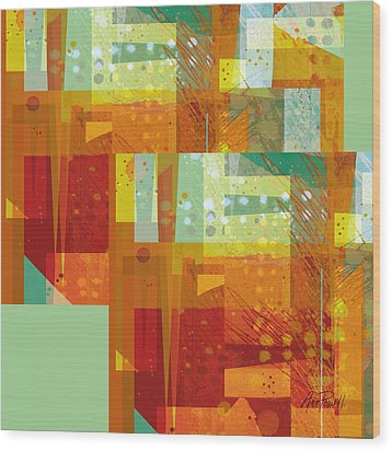 abstract - art- Intersect Orange   Wood Print by Ann Powell