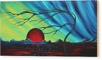 Abstract Art Landscape Seascape Bold Colorful Artwork Serenity By Madart Wood Print by Megan Duncanson