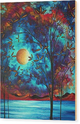 Abstract Art Landscape Tree Blossoms Sea Moon Painting Visionary Delight By Madart Wood Print by Megan Duncanson