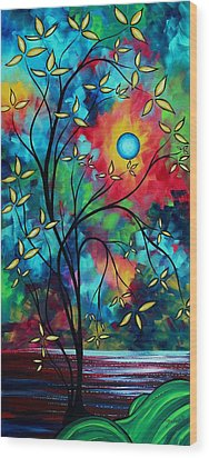 Abstract Art Landscape Tree Blossoms Sea Painting Under The Light Of The Moon II By Madart Wood Print by Megan Duncanson