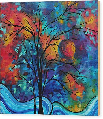 Abstract Art Landscape Tree Bold Colorful Painting A Secret Place By Madart Wood Print by Megan Duncanson