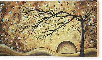 Abstract Art Metallic Gold Original Landscape Painting Colorful Diamond Jubilee By Madart Wood Print by Megan Duncanson