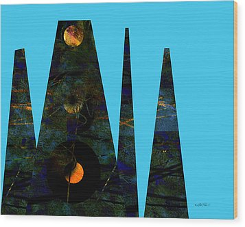 abstract - art- Mystical Moons  Wood Print by Ann Powell