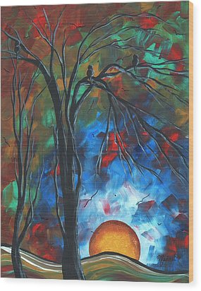 Abstract Art Original Colorful Bird Painting Spring Blossoms By Madart Wood Print by Megan Duncanson