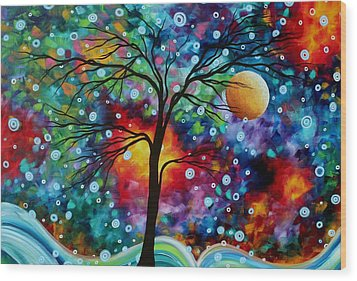 Abstract Art Original Colorful Landscape Painting A Moment In Time By Madart Wood Print by Megan Duncanson