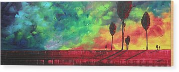 Abstract Art Original Colorful Landscape Painting Burning Skies By Madart  Wood Print by Megan Duncanson